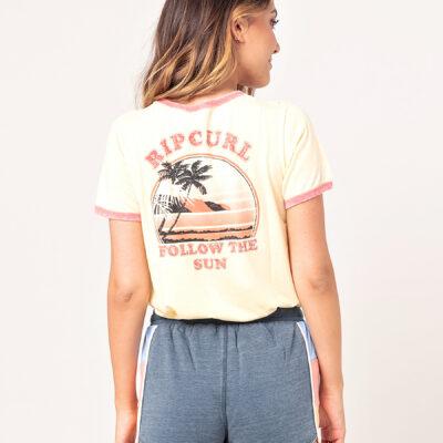 Camiseta RIP CURL surfera manga corta para mujer Golden State Ringer Yelow Ref. GTEZB5 amarilla playa aloha