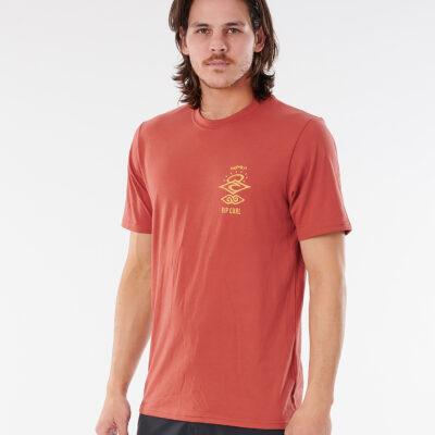 Camiseta lycra RIP CURL hombre manga corta técnica surfera Searchers UV Maroon Ref. WLY34M Granate