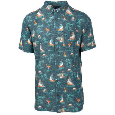 Camisa de Manga Corta Hombre RIP CURL OAHU SHIRT Green Ref. CSHFE4 estampado hawaiano verde palmera playa surfera