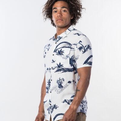 Camisa de Manga Corta Hombre RIP CURL Oahu Off White Ref. CSHGD4 blanca ahoha hawaiana