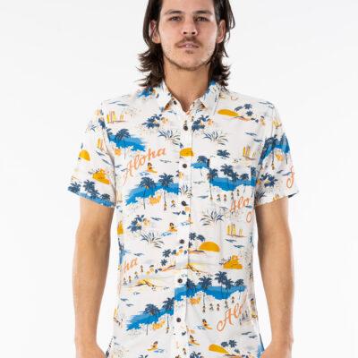 Camisa RIP CURL veraniega de Manga Corta Hombre Hawaiian Bone Ref. CSHGH9 blanca aloha hawaiana