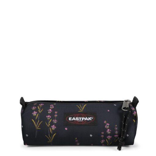 Estuche Eastpak escolar: Benchmark SINGLE EK372J40 Wild Black negro con flores rosas margaritas