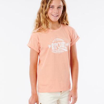 Camiseta RIP CURL niña manga corta surfera Sunny Day Girl peach Ref. JTEAH9 melocotón logo pecho