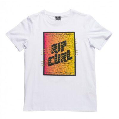 Camiseta RIP CURL Niño manga corta surfera AGGROFRAME RECTANGLE SS TEE Optica white Ref. KTELB4 blanca logo pecho