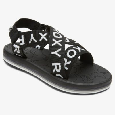 Sandalias ROXY Chanclas téxtil cruzadas playa Mujer Jules BLACK (blk) Ref. ARJL100929 negra logo blanco