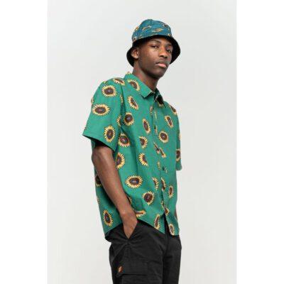 Camisa SANTA CRUZ Manga Corta Hombre Sunflower Shirt Evergreen Ref. SCA-SHT-0271 Verde Estampado floral girasoles
