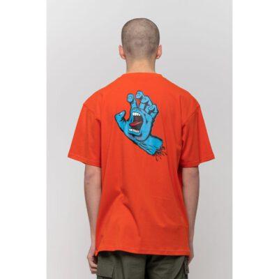 Camiseta SANTA CRUZ Chico manga corta Screaming Hand Chest T-Shirt Flame Red Ref. SCA-TEE-5864 roja con logo pecho mano/puño