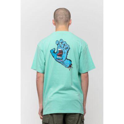 Camiseta SANTA CRUZ Chico manga corta Screaming Hand Chest T-Shirt Jade Green Ref. SCA-TEE-5873 verde agua con logo pecho mano/puño