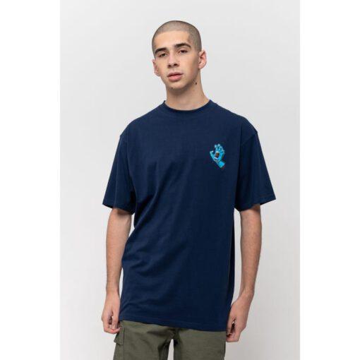 Camiseta SANTA CRUZ Chico manga corta Screaming Hand Chest T-Shirt Dark Navy Ref. SCA-TEE-5877 azul con logo pecho mano/puño