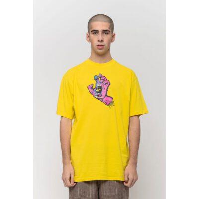 Camiseta SANTA CRUZ Chico manga corta Scales Screaming Hand T-Shirt Blazing Yellow Ref. SCA-TEE-5973 amarilla con logo pecho mano/puño