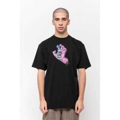 Camiseta SANTA CRUZ Chico manga corta Scales Screaming Hand T-Shirt Ref. SCA-TEE-5977 Negra con logo pecho mano/puño