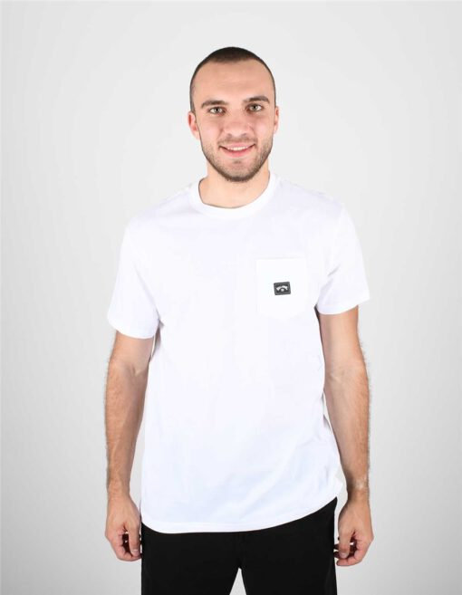 Camiseta BILLABONG para hombre manga corta Stacked WHITE Ref. S1SS01BIP0 blanca lisa bolsillo pecho