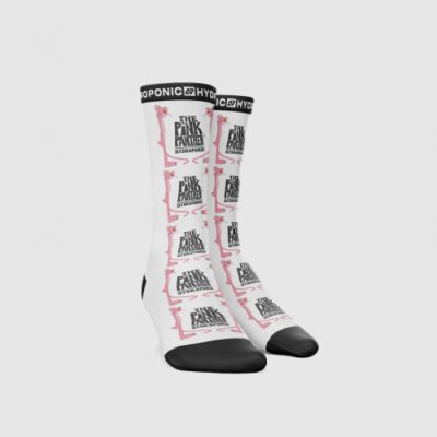 Calcetines HYDROPONIC unisex a rayas hasta la pantorrilla PINK PANTHER COVER WHITE Ref. SK018-03 blancos Pantera rosa