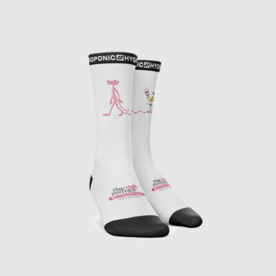 Calcetines HYDROPONIC unisex a rayas hasta la pantorrilla PINK PANTHER PAINT WHITE Ref. SK018-06 Blanco Pantera rosa