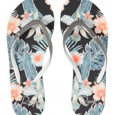 Sandalias ROXY Chanclas goma dedo playa Mujer Portofino (bme) Ref. ARJL100668 negra flores tropical