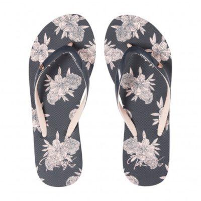 Sandalias ROXY Chanclas goma dedo playa Mujer Portofino (ba9) Ref. ARJL100668 negra/rosa flores tropical