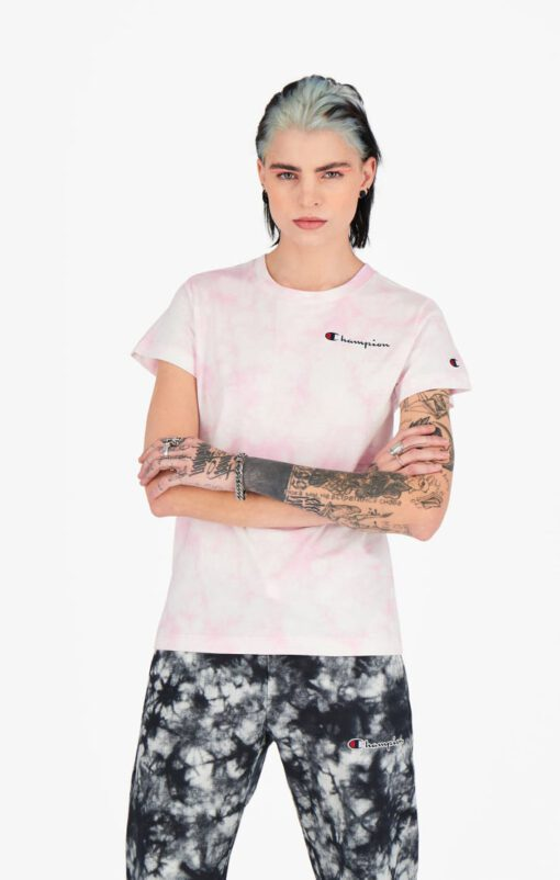 Camiseta CHAMPION mujer manga corta TIE DYE DIGITAL PRINT T-SHIRT Pink Ref. 113939 rosa tie dye degradado
