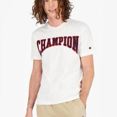 Camiseta CHAMPION Hombre manga corta Cuello redondo COLLEGIATE LOGO T-SHIRT White Black Ref. 215750 Blanca logo pecho