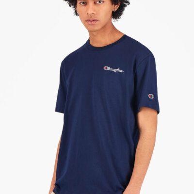 Camiseta CHAMPION Hombre manga corta Cuello redondo SMALL SCRIPT LOGO T-SHIRT Dark Turquoise Ref. 215940 Azul marino