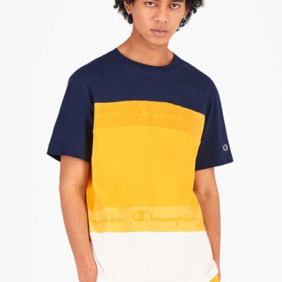 Camiseta CHAMPION Hombre manga corta Cuello redondo TOMBRÉ STRIPE T-SHIRT Buttercup Yellow Ref. 215948 Amarillo/marino/blanco