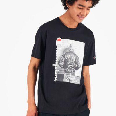 Camiseta CHAMPION Hombre manga corta Cuello redondo VINTAGE PRINT T-SHIRT Black Ref. 216032 negra