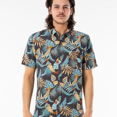 Camisa RIP CURL veraniega de Manga Corta Hombre Hawaiian Navy Black Ref. CSHGH9 azul flores hawaiana