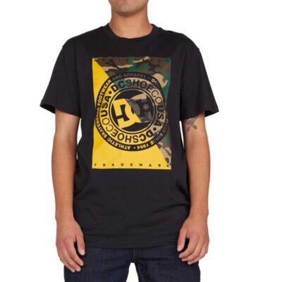 Camiseta DC Shoes hombre manga corta Warfare Black (kvjo) Ref. EDYZT04194 negra/amarilla