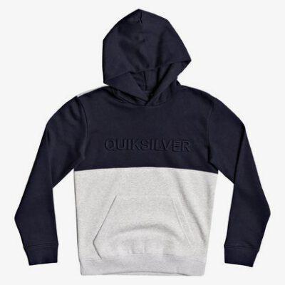 Sudadera niño Quiksilver con capucha Logo pecho relieve Emboss Block (byp0) Ref. EQBFT03632 azul/gris