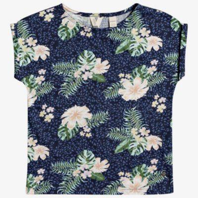 Camiseta ROXY niña manga corta African Sunset MOOD INDIGO ANIMALIA (bsp7) Ref. ERGKT03167 Azul flores tropical