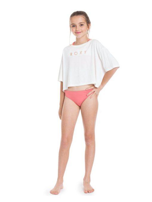 Camiseta corta ROXY niña manga corta Bali Memory SNOW WHITE (wbk0) Ref. ERGZT03734 blanca logo pecho oro