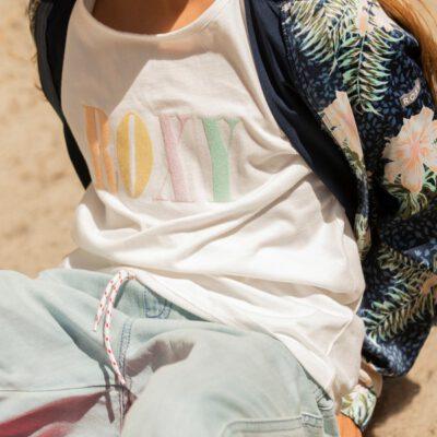 Camiseta ROXY niña manga corta Day And Night SNOW WHITE (wbk0) Ref. ERGZT03754 blanco logo pecho