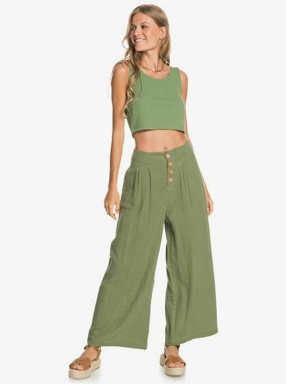 Pantalón ROXY de cintura alta y pierna ancha para Mujer Dream Story VINEYARD GREEN (gnt0) Ref. ERJNP03361 verde
