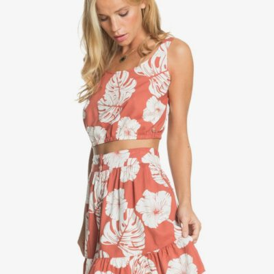Mini falda ROXY para Mujer Higher Love MARSALA ISHA (mpd6) Ref. ERJWK03101 Coral flores hawaiana