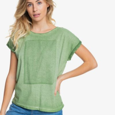 Camiseta ROXY Top de Manga Corta para Mujer Summertime Happiness VINEYARD GREEN (gnt0) Ref. ERJZT05140 verde