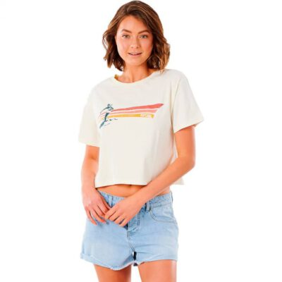Camiseta top RIP CURL surfera manga corta para mujer Crop Golden State Bone Ref. GTEKT9 crudo playa aloha