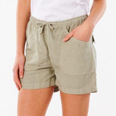 Pantalón lino RIP CURL corto práctico y cómodo para Mujer Shorts Panoma Stone Ref. GWACB9 verde oliva