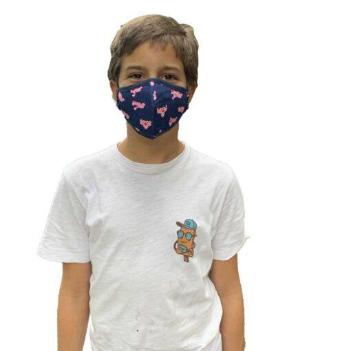 Mascarilla niño Hydroponic con bolsillo interior más filtro Breeze Blue Panther Face Mash Ref. FM001 Azul Pantera rosa