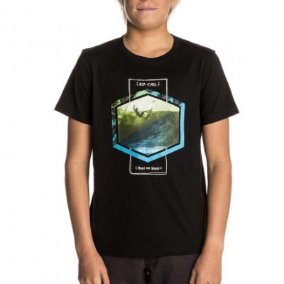 Camiseta RIP CURL Niño manga corta surfera Action Palm SS Tee t-Shirt Black Ref. KTELN4 negra paisaje surf
