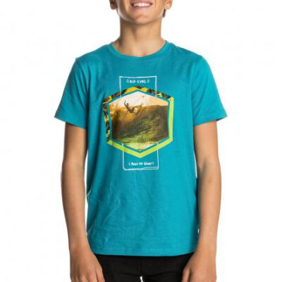 Camiseta RIP CURL Niño manga corta surfera Action Palm SS Tee t-Shirt Barrier blue Ref. KTELN4 Azul surf