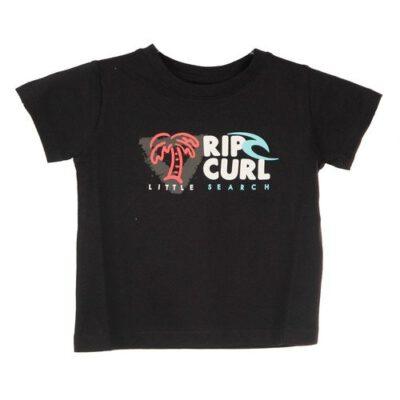Camiseta RIP CURL manga corta niño surfera LETS SURF SS TEE GROM black Ref. OTEAO4 negra divertida