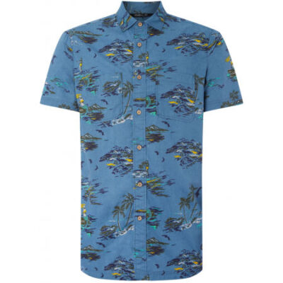 Camisa Hombre O'NEILL manga corta Tropical Blue Yelow orange Ref. 0A1316 azul estampada hawaiana