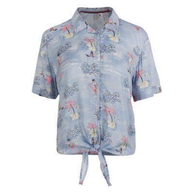 Camisa O'NEILL manga corta para mujer nudo CALI WOVEN SHIRT Blue/pink Ref. 1A6302 azul tropical multicolor