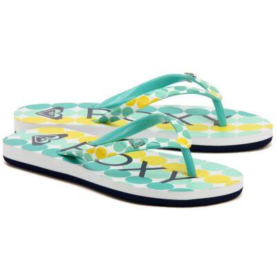 Sandalias ROXY Chanclas goma playa niña Pebbles Flip-Flops (TUR) Ref. ARGL100031 Azul agua/amarillo topos