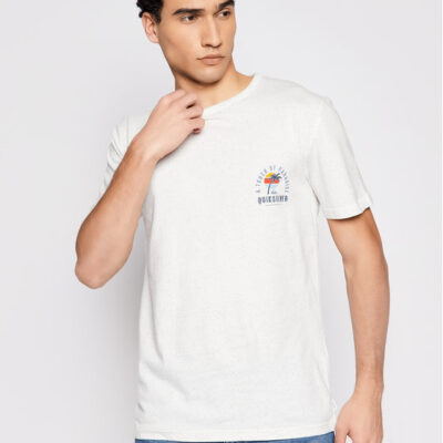 Camiseta QUIKSILVER Hombre manga corta Beal Ss Tee (wbk0) Ref. EQYZT04117 Blanca jaspeada logo bordado pecho