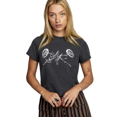 Camiseta RVCA manga corta para mujer INTERRUPTION Black Ref. W3SSRLRVP1 negra flores