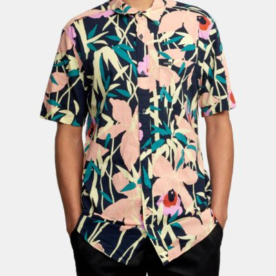 Camisa RVCA Manga Corta Hombre BAMBOO FLORAL NAVY MARINE (3693) Ref. W1SHRZRVP1 Estampado floral multicolor