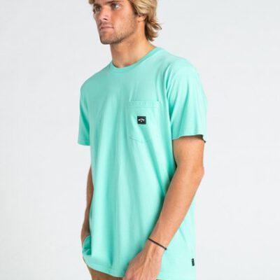 Camiseta BILLABONG para hombre manga corta Stacked LIGHT AQUA Ref. W1SS73BIP1 verde agua lisa bolsillo pecho