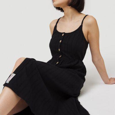 Vestido O'NEILL casual midi con tirantes para mujer AGATA MIDI DRESS Black Out Ref. 0A8906 negro