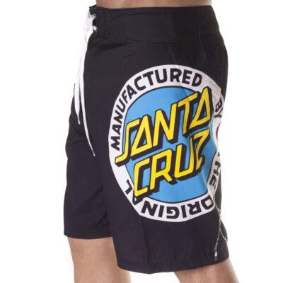 Bañador SANTA CRUZ surfero Hombre Short elástico Manufactured Original BK Ref. BSST Negro logo pierna