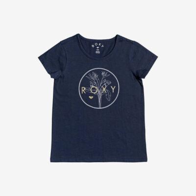 Camiseta ROXY niña manga corta endless music foi kids (bspo) Ref. ERGZT03557 azul dibujo flor y dorado